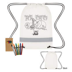 Colouring Drawstring Bag with Crayons