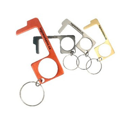 NO Touch Anodized Aluminum Keychain